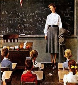 norman rockwell school teacher classroom