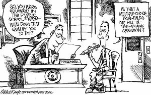 Denver Post cartoon satirizing the effect of standardized tests on public education. Source: Mike Keefe, Denver Post, 2002